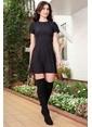 İroni Kısa Kollu Evaze Elbise Siyah
